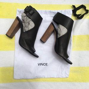 Vince black leather heeled sandals